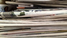 A stack of newspapers for recylying