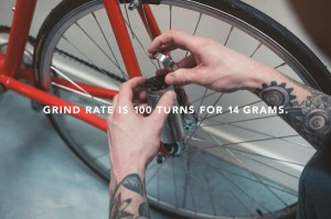 Fixed-gear bike coffee grinder