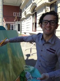 Robertson Butriago: the Colombian artist has been in Melbourne for 4 months studying English – and painting. Pic: Matt Holden CC ND SA BY